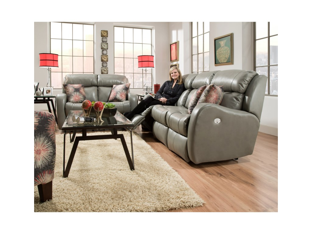 Southern Motion SiriDouble Reclining Loveseat with Pillows