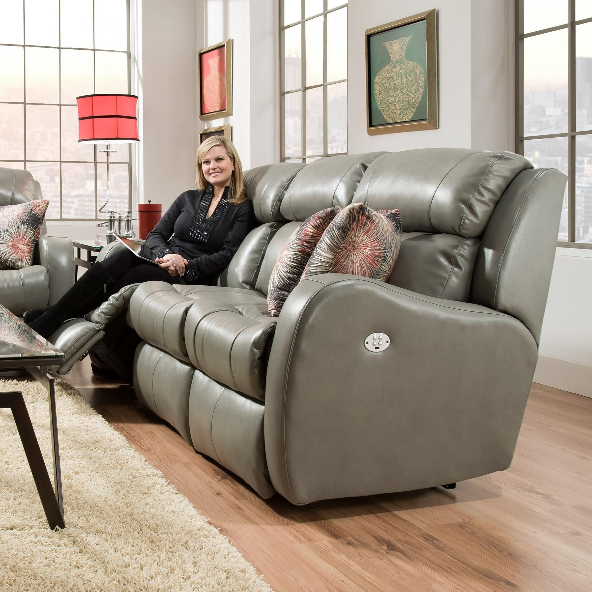 southern motion siri double reclining sofa with pillows - Southern Motion Furniture