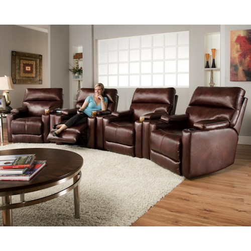 Southern Motion Tango Theater Seating Group With 4 Lay Flat Recliners And Cup Holders