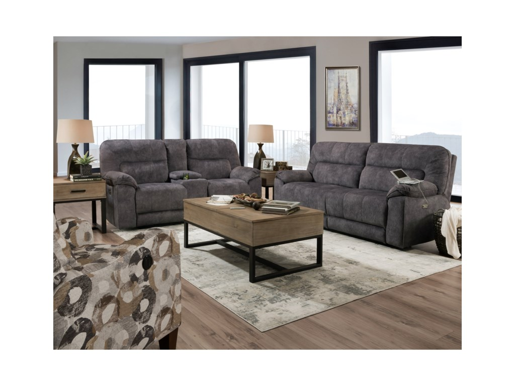 Southern Motion Top GunPower Reclining Console Sofa w/ Pwr Hdrsts