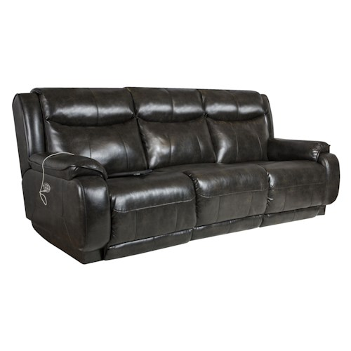 Southern Motion Velocity Double Reclining Sofa with <b>Power</b> Headrest