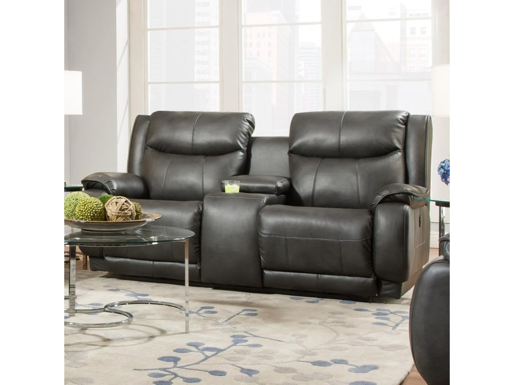 Southern Motion VelocityReclining Console Sofa with Power Headrest