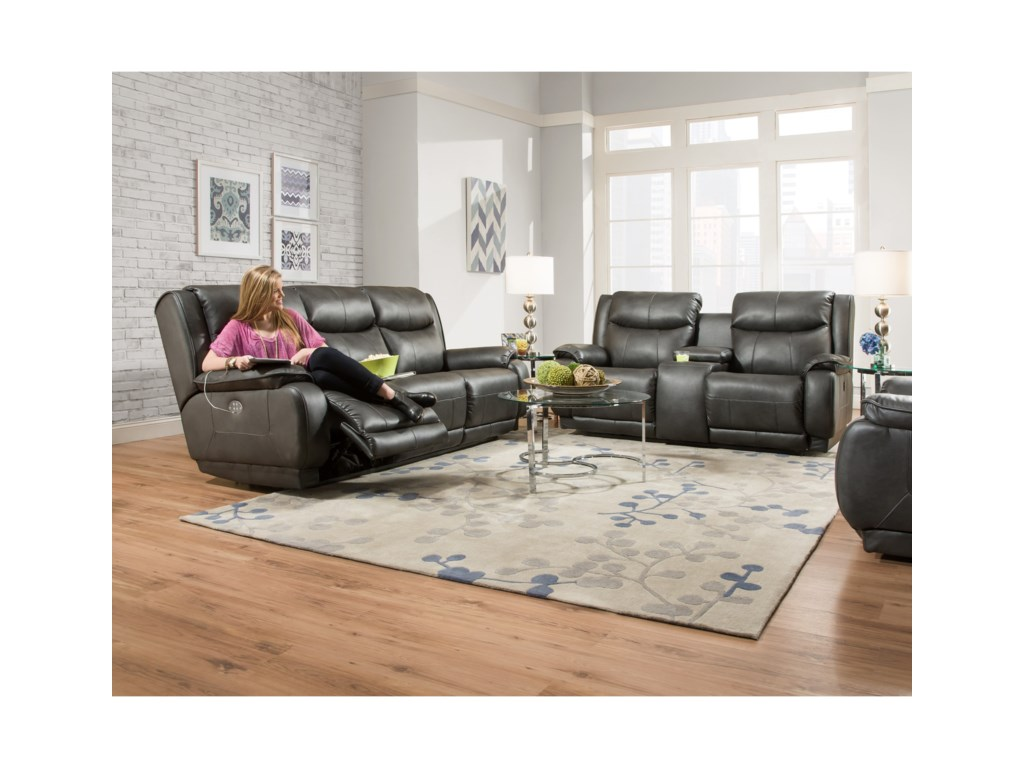 Southern Motion Velocity Double Reclining Console Sofa With Power