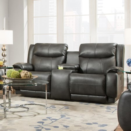 Reclining Console Sofa with Power Headrest