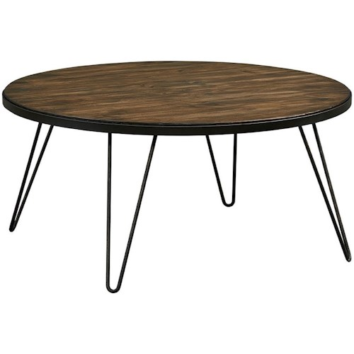 Zenith Paterno Mid-Century Modern Round Cocktail Table with Hairpin Metal Legs