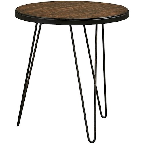 Standard Furniture Paterno Mid-Century Modern Round End Table with Hairpin Metal Legs