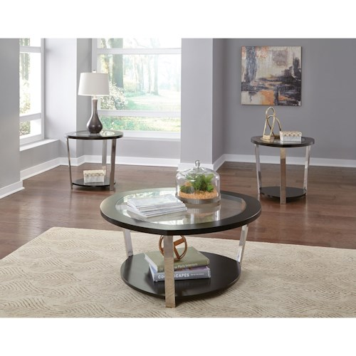 Zenith Triad Contemporary Occasional Table Group with Tempered Glass Top