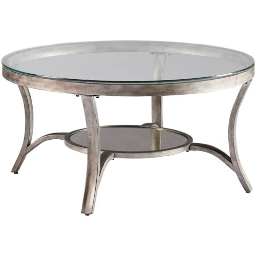 Zenith Cole Transitional Round Cocktail Table with Antiqued Mirror Bottom Shelf