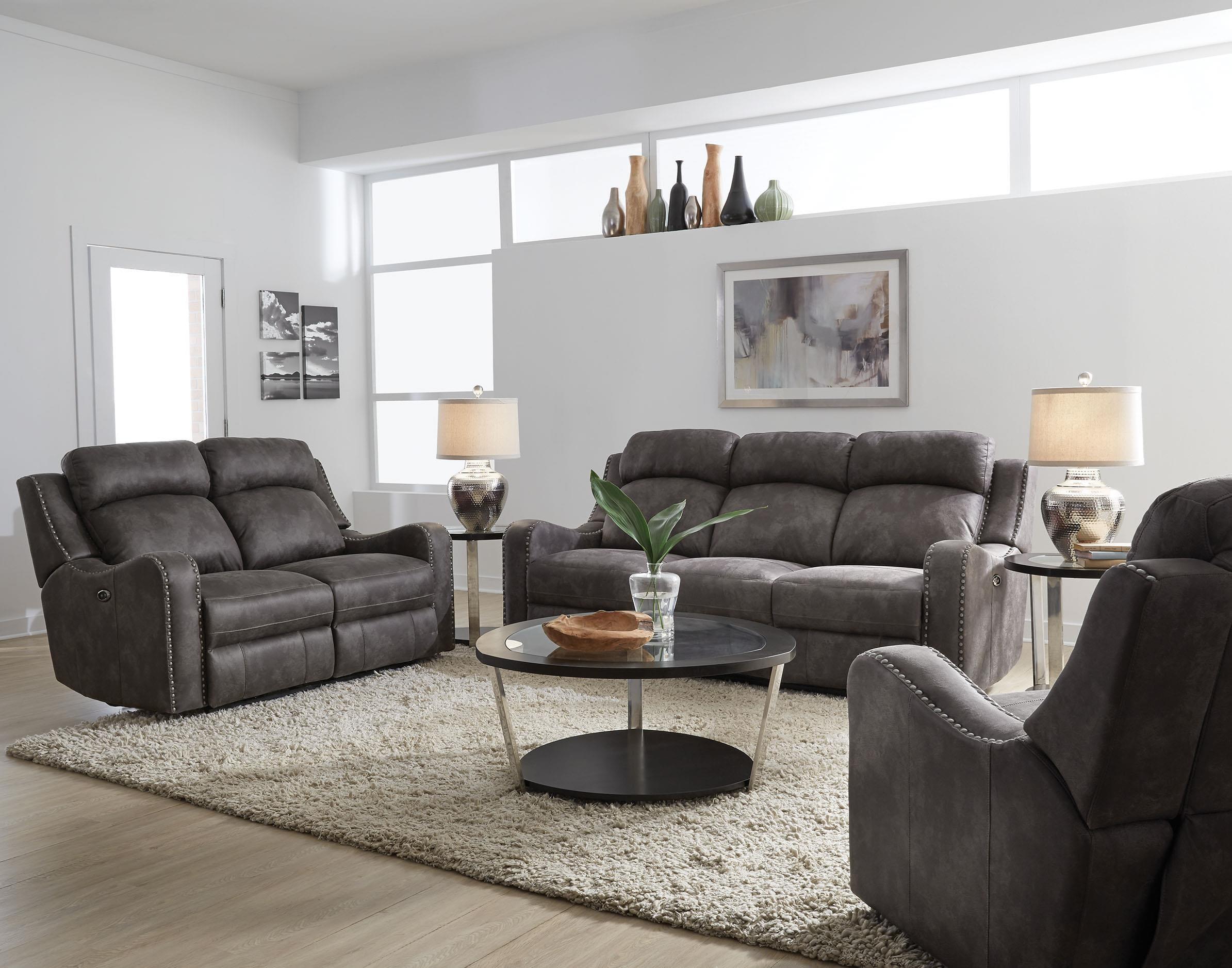 ... Standard Furniture Bankston Grey Reclining Sofa Great American ...