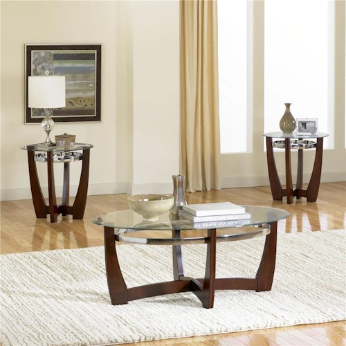 Standard Furniture Apollo 3-Pack With Glass Top Cocktail Table and 2 Glass Top End Tables