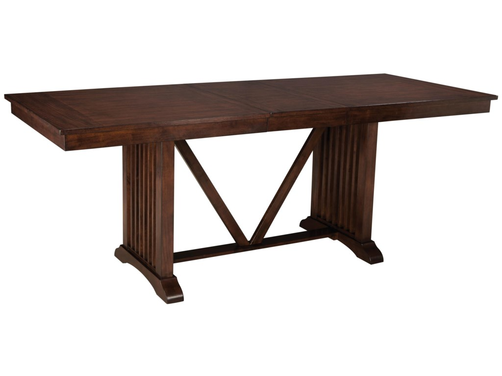 Standard Furniture Loft Counter Height Trestle Table With Slat Base