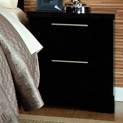 Standard Furniture Atlanta 2 Drawer Nightstand with Slim Line Cast Metal Bar Pulls