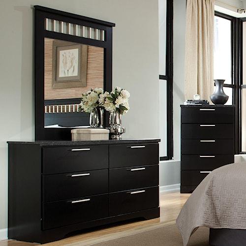 Standard Furniture Atlanta Rectangular 6 Drawer Dresser & Mirror with Accent Bars
