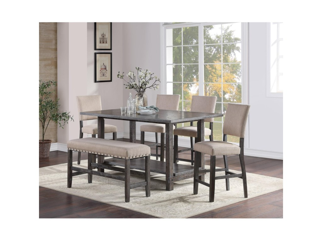 Standard Furniture Aubrun CharcoalCounter Height Dining Bench