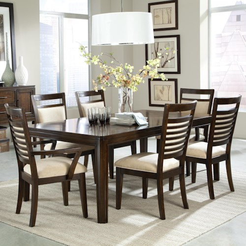 Standard Furniture Avion 7 Piece Dining Table Set And Upholstered Chairs With Ladder Back Wood Detailing
