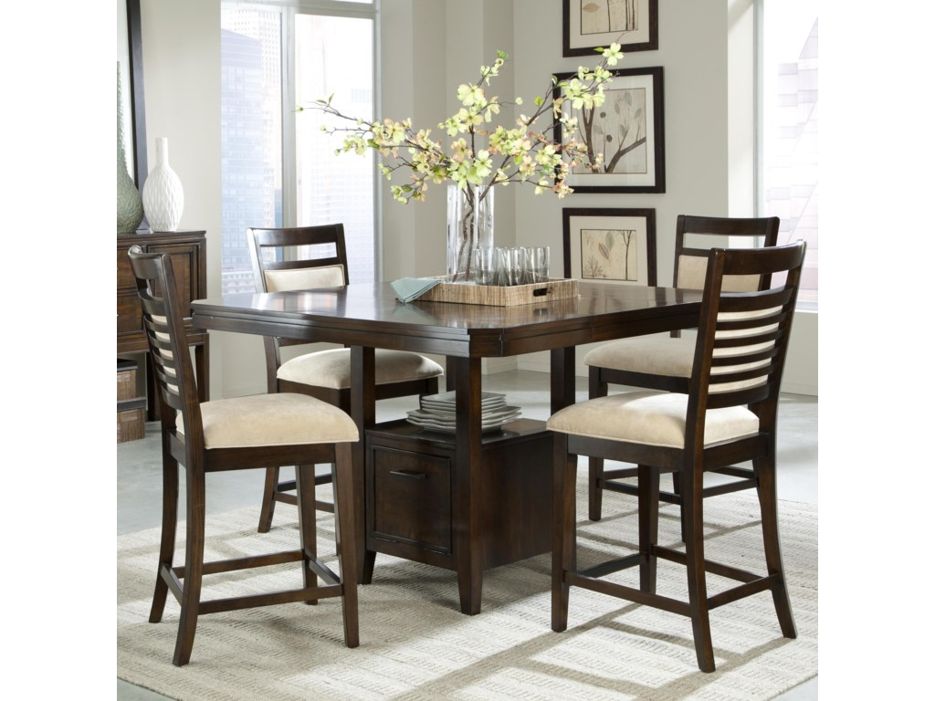 Avion 5 piece counter height table set and upholstered counter height chairs with ladder back wood detailing by standard furniture