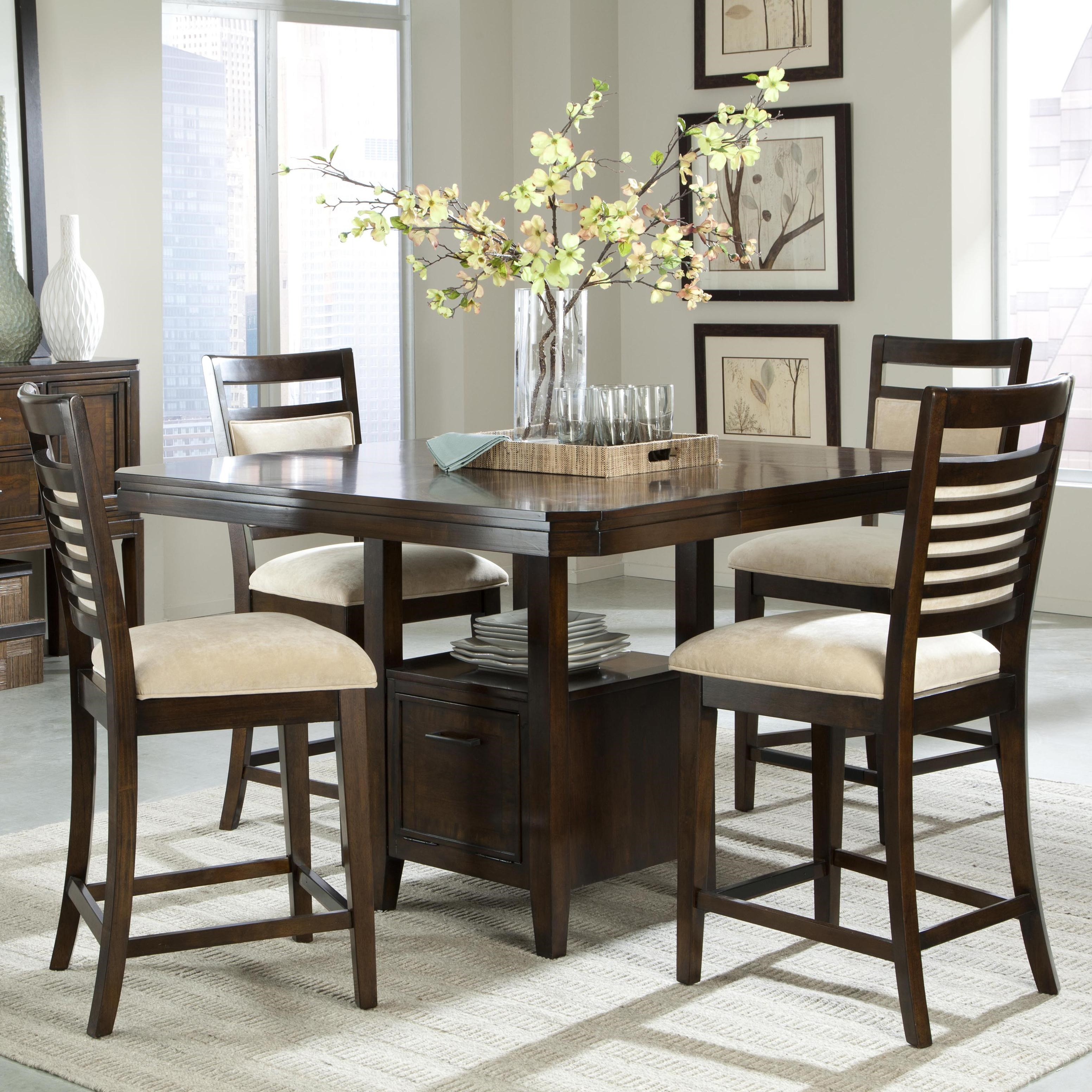 Standard Furniture Avion 5 Piece Counter Height Table Set And Upholstered Counter  Height Chairs With Ladder Back Wood Detailing