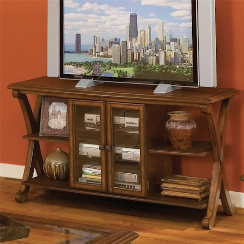 Standard Furniture Madrid TV Console With 4 Shelves and 3 Shelves Behind 2 Doors
