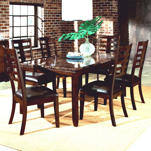 7 piece dining set with faux marble top - bellastandard