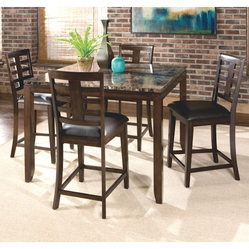 Standard Furniture Bella 5 Piece Counter Height Dining Set with Faux Marble Top