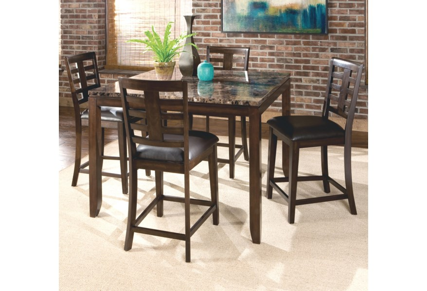 Bella 5 Piece Counter Height Dining Set With Faux Marble Top By Standard Furniture At