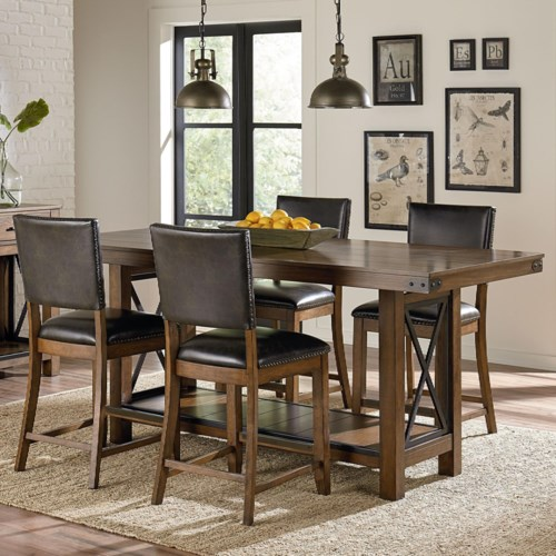 standard furniture benson counter height rustic table and chair set
