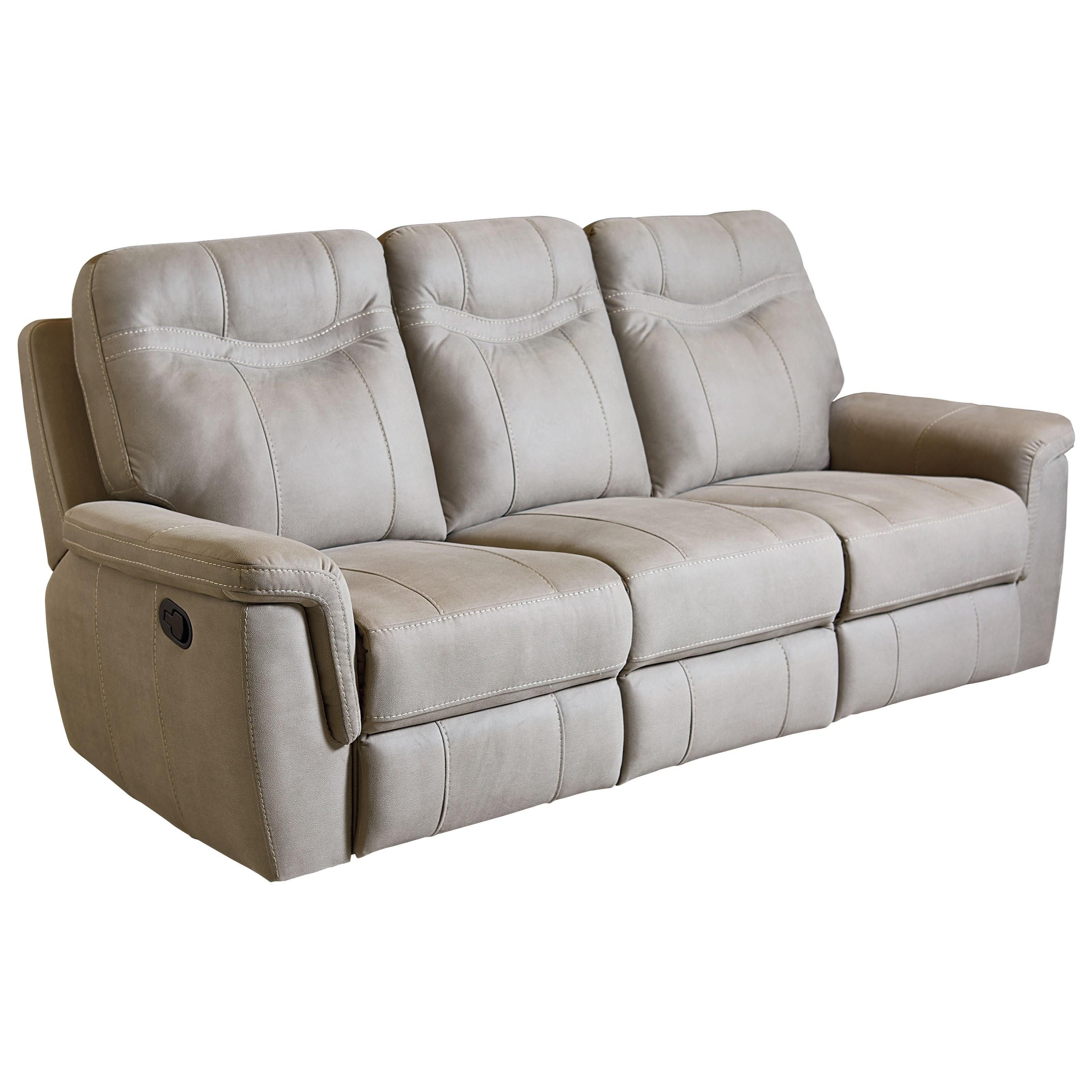 Standard Furniture Boardwalk Contemporary Stone Colored Reclining Sofa