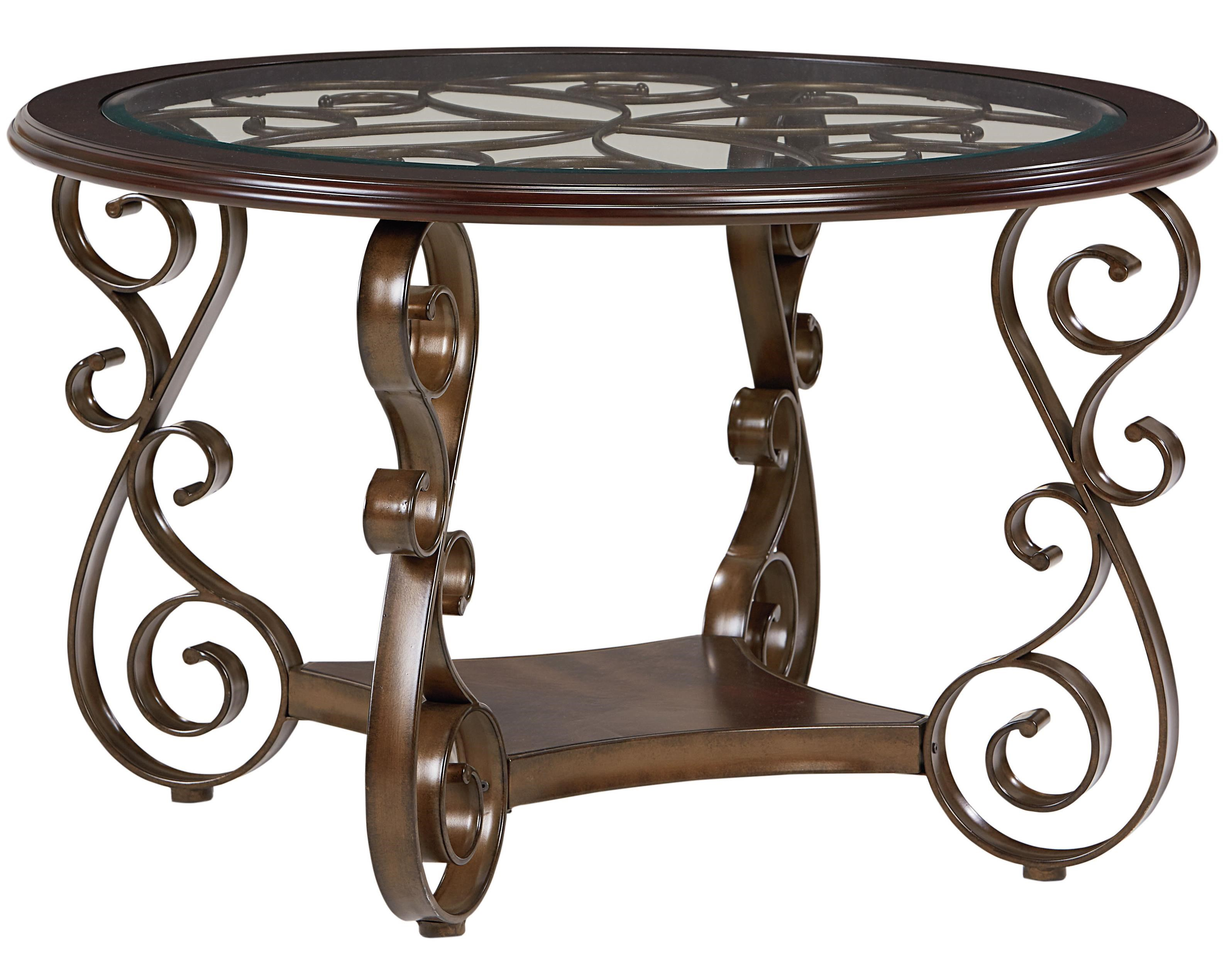 Standard Furniture Bombay Round Dining Table With Metal Scroll Pattern