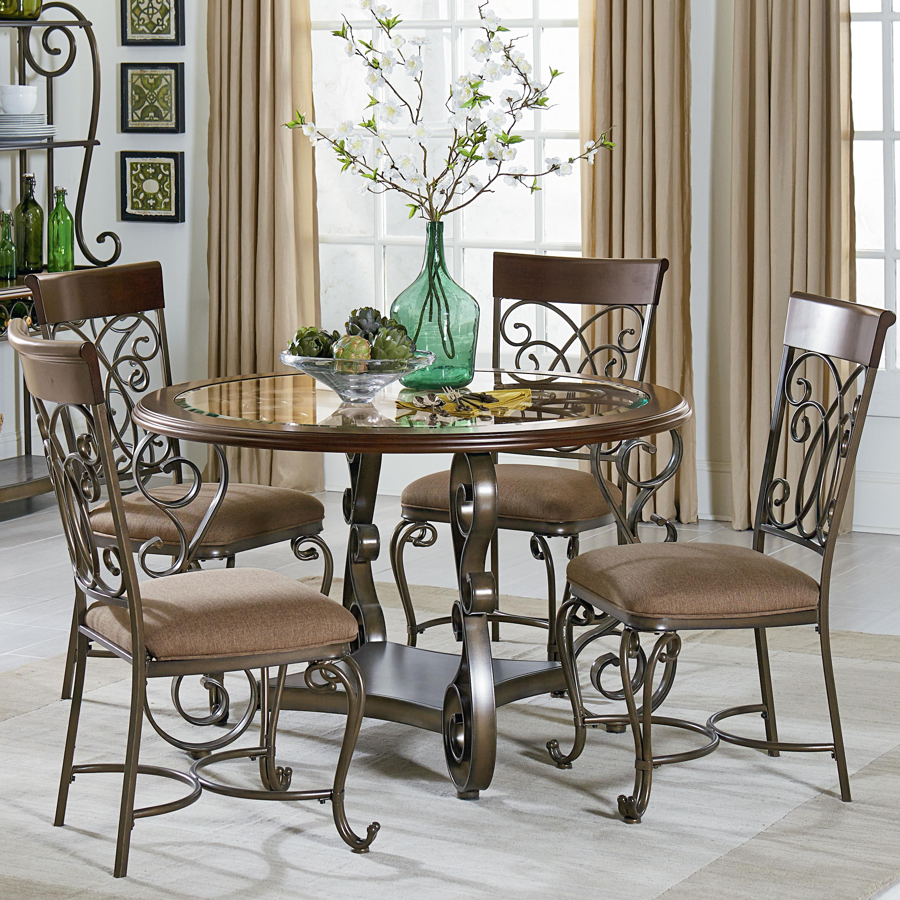 Standard Furniture Bombay Round Table And Chair Set With Metal Scroll Detail