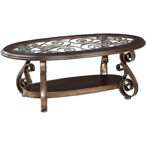 Standard Furniture Bombay Old World Cocktail Table with Glass Top and S-Scroll Legs