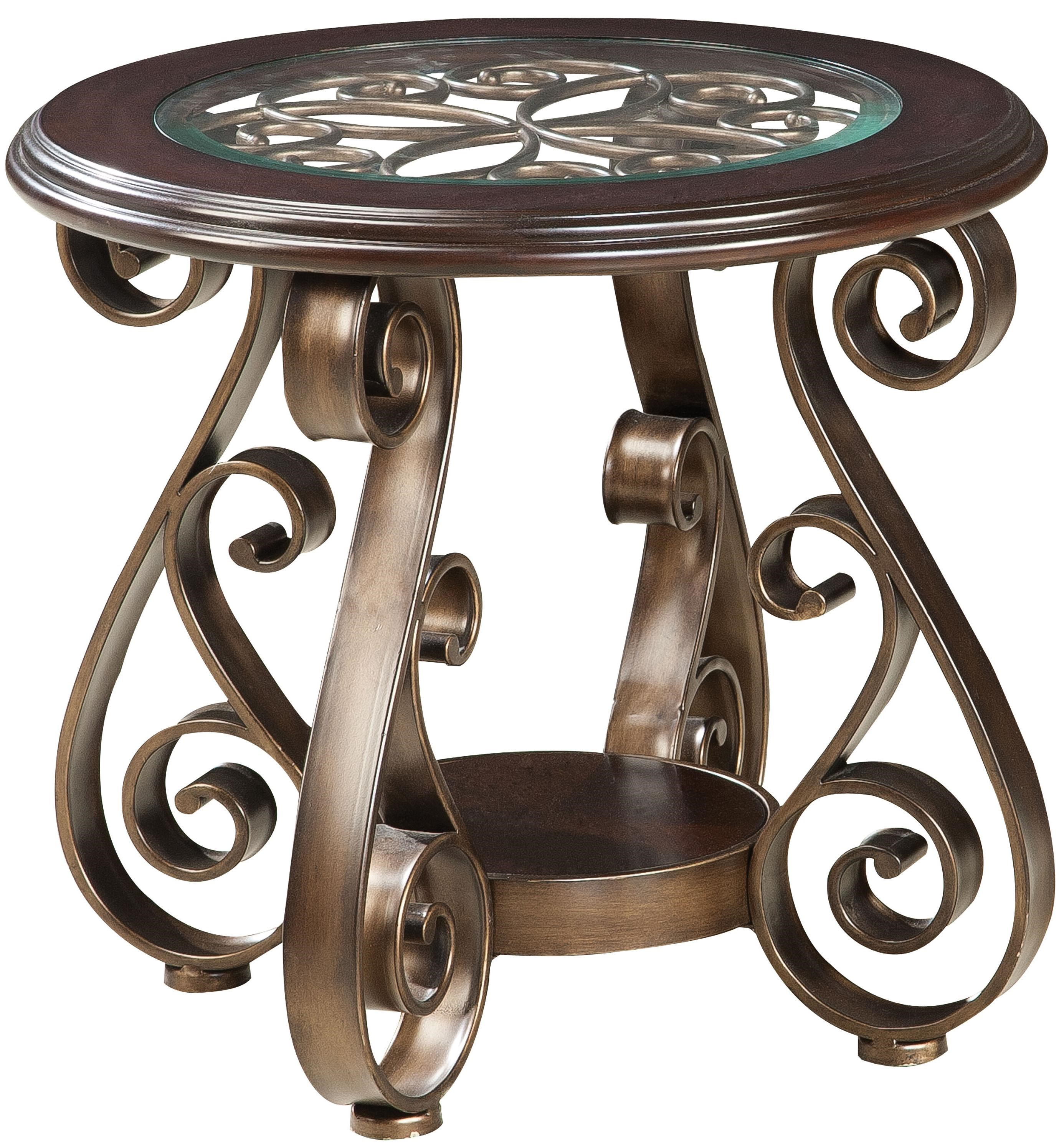Good Standard Furniture Bombay Old World End Table With Glass Top And S Scroll  Legs