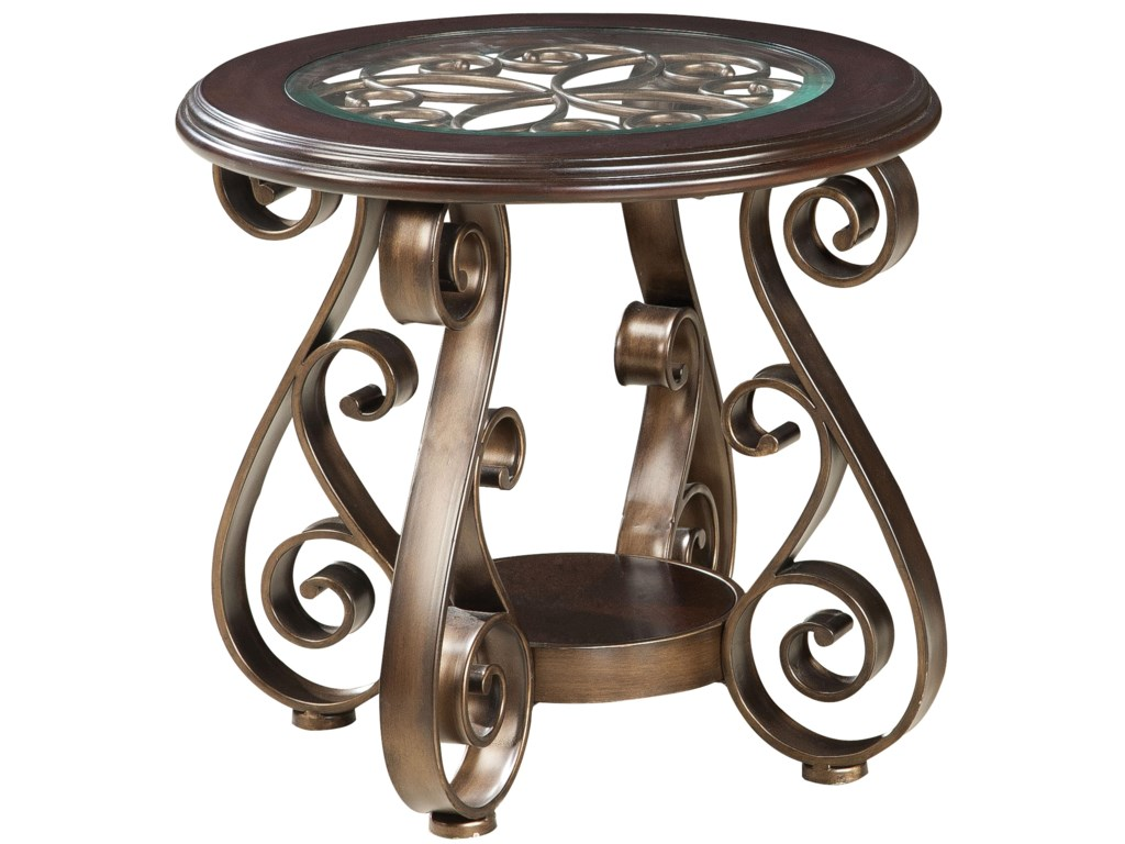 Scrolled metal and wood coffee table - Standard Furniture Bombay Old World End Table With Glass Top And S Scroll Legs Great American Home Store End Table