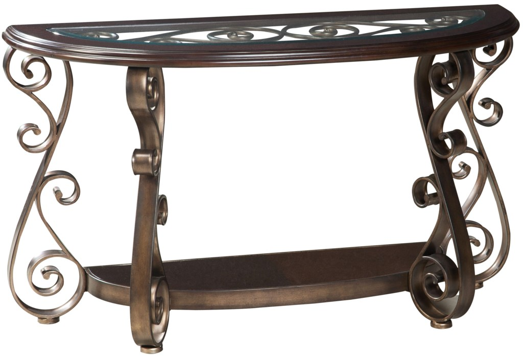 Standard Furniture Bombay 21607 Old World Sofa Table With Glass  ~ Sofa Table With Glass Top