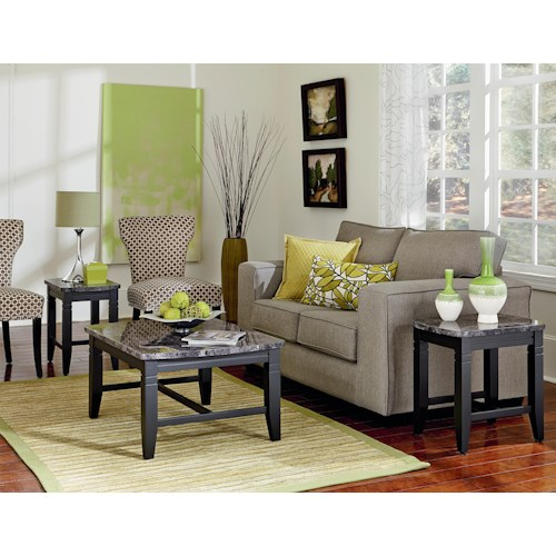 Standard Furniture Boroughs 3 Piece Occasional Table Set with Faux Marble Tops