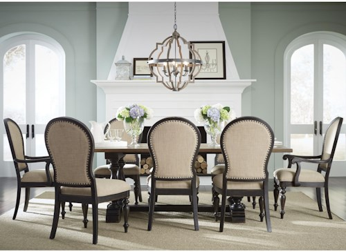 Upholstered Chairs Dining Room dining room designs with upholstered chairs Standard Furniture Cambria Trestle Table And Upholstered Chair Dining Set