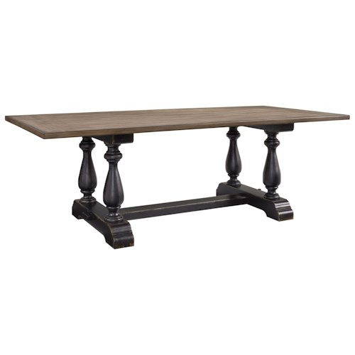Standard Furniture Cambria Two-Tone Dining Table with Trestle Base