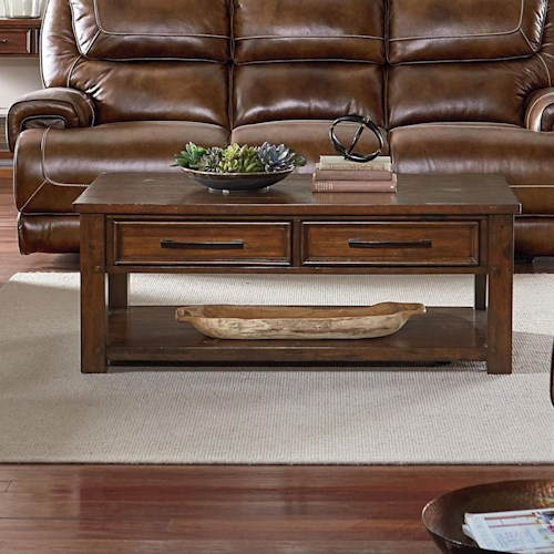 Standard Furniture Cameron Cocktail Table with Burnished Tobacco Finish