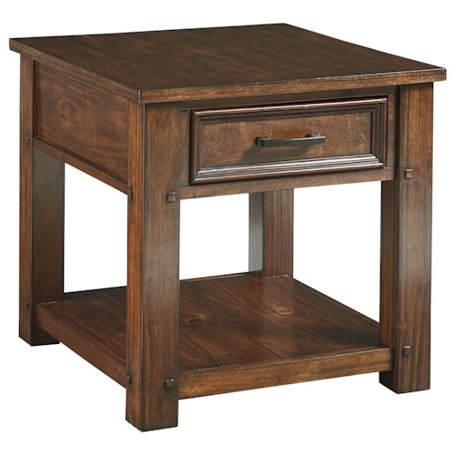 Standard Furniture Cameron End Table with Burnished Tobacco Finish