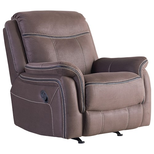 Standard Furniture Champion Manual Rocker Recliner with Luggage Style Topstitching