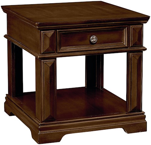 Standard Furniture Charleston Traditional 1 Drawer End Table with Crown Molding