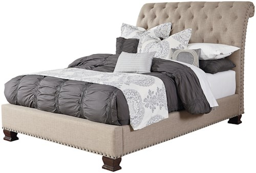 Standard Furniture Charleston King Upholstered Bed with Diamond Tufting