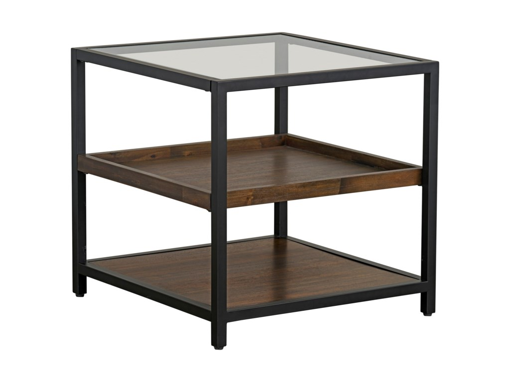 c2c55b1838d8a7 Copeland Industrial Square End Table with Glass Top by Standard Furniture