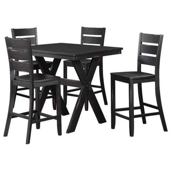 Standard Furniture Costa Counter Height Table And Stool Set With Distressed  Black Finish