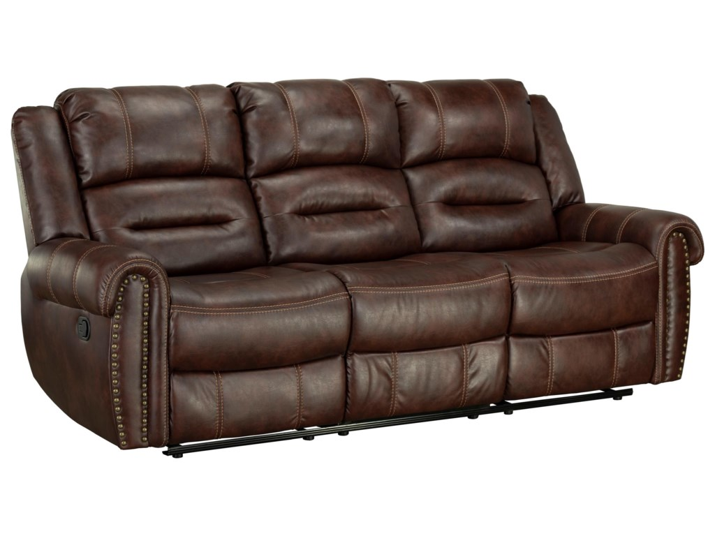 Cunningham Casual Reclining Sofa With Nailhead Trim By Standard Furniture