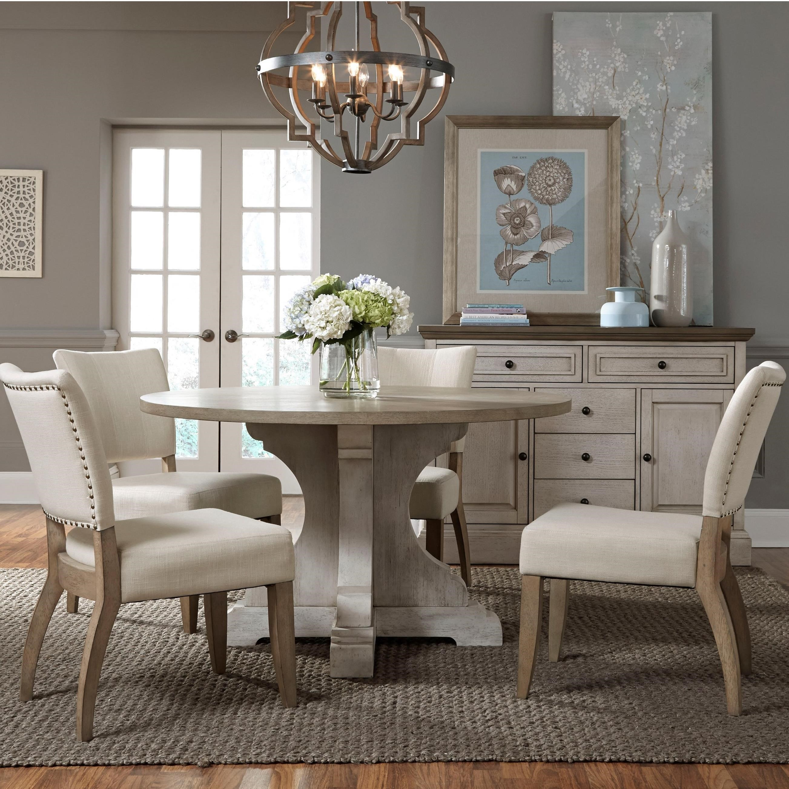 Standard Furniture Dakota Dining Set With Round Table And Four Side Chairs