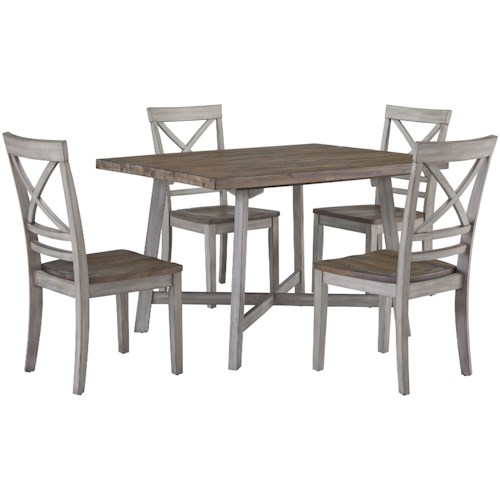 Zenith Mushroom 12862 Rustic Two-Tone Table and Chair Set | EFO ...
