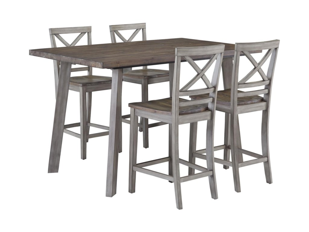 Standard Furniture Fairhaven 12872 Counter Table & 4 Counter Chairs ...