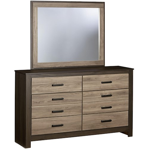 Standard Furniture Freemont Dresser with 6 Drawers and Mirror