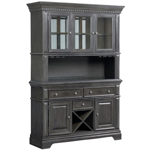 Standard Furniture Garrison Traditionally Styled China Cabinet with Smooth Grey Finish