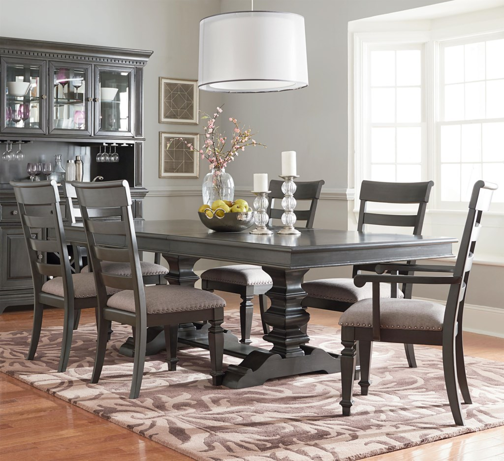 Standard furniture garrison trestle table dining set with six chairs